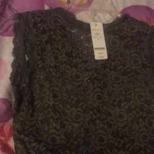 58bf652f23f82 bebe Tops - Bebe Olive green Sleeveless Lace Crop Top